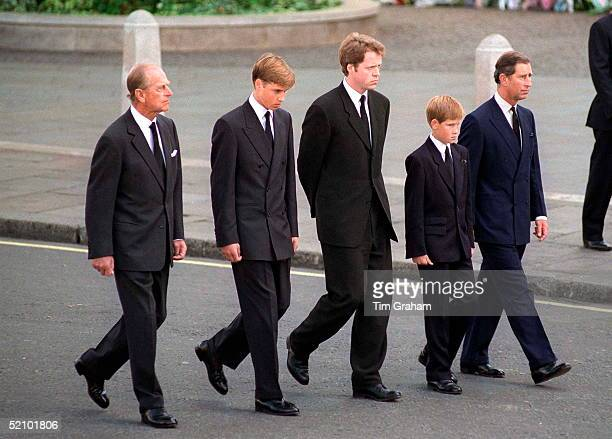 The Duke Of Edinburgh Prince William Earl Spencer Prince Harry And The Prince Of Wales Following The Coffin Of Diana Princess Of Wales