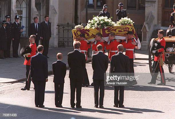 The Duke of Edinburgh Prince William Earl Spencer Prince Harry and the Prince of Wales following the coffin of Diana Princess of Wales at her funeral
