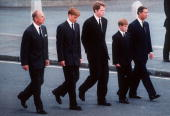 The Duke of Edinburgh Prince William Earl Spencer Prince Harry and the Prince of Wales follow the coffin of Diana Princess of Wales in September 1997