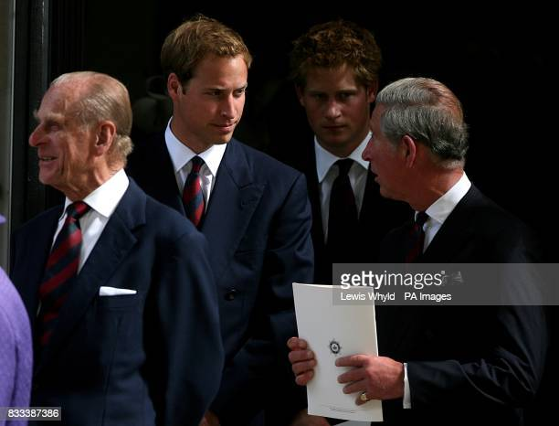 The Duke of Edinburgh Prince William Prince Harry and Prince Charles leave the Service of Thanksgiving for the life of Diana Princess of Wales at the...