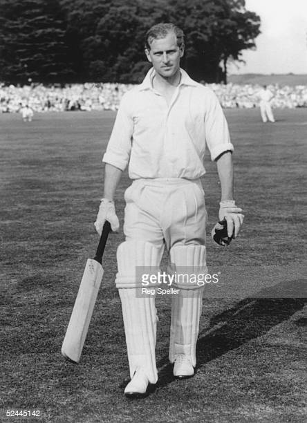 The Duke of Edinburgh returns to the pavilion after scoring 18 runs in a celebrity match against the Duke of Norfolk at Arundel Castle 22nd August...