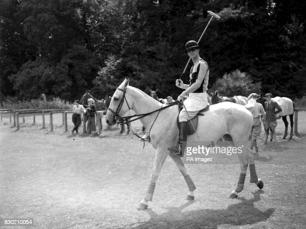 The Duke of Edinburgh riding out from the paddock to the playing field at Cowdray Park for the July Cup American Polo Tournament in Midhurst Sussex