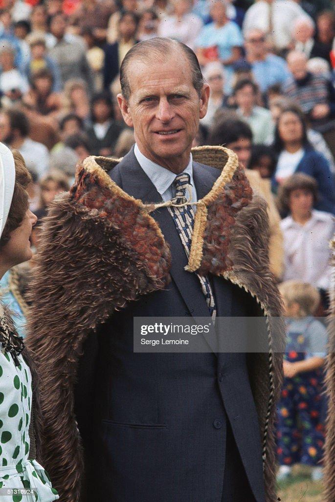 The Duke of Edinburgh sports a fur cape for a ceremonial occasion, circa 1985.