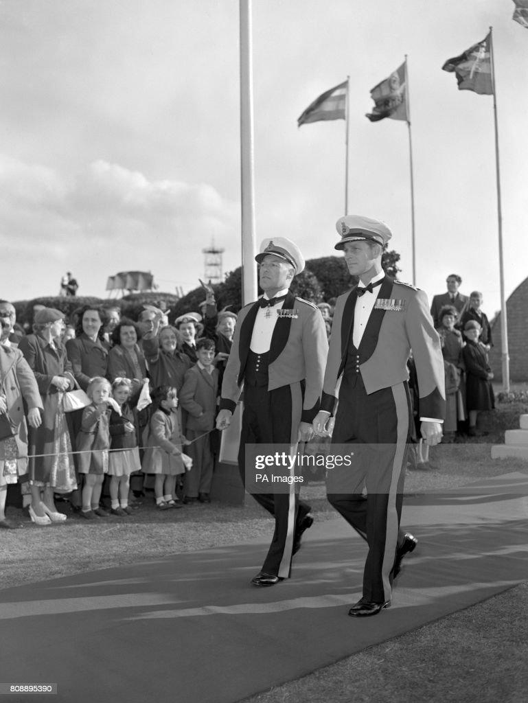 The Duke of Edinburgh visiting the Royal Marines Eastney Barracks, Portsmouth, accompanied by Lieutenant-General John Westall. Both men wore Royal Marines officers mess dress.