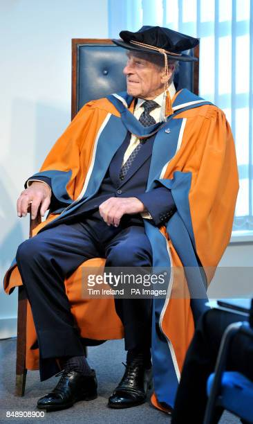 The Duke of Edinburgh waits to receive an honorary doctorate of marine science from Plymouth University in recognition of his decorated career in the...