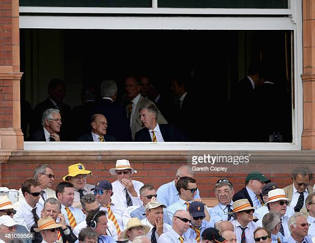 The Duke of Edinburgh watches play from the pavilion during day two of the 2nd Investec Ashes Test match between England and Australia at Lord's...