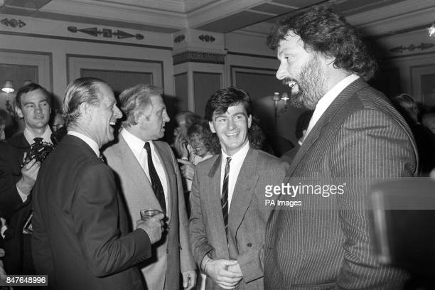 The Duke of Edinburgh who is guest of honour at the National Sponsored Luncheon organised by the Variety Club of Great Britain enjoys a joke with...