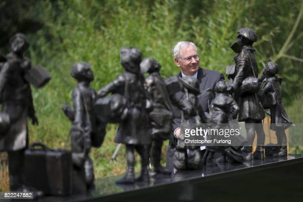 The Duke of Gloucester views 'Every Which Way' The British Evacuees Association Memorial after it was unveiled today by him at The National Memorial...