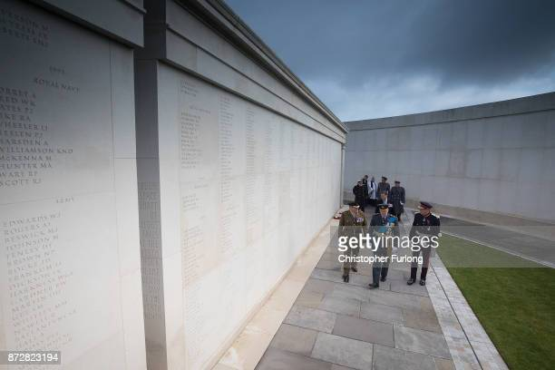 The Duke of Gloucester views the names of the fallen as he attends the annual Armistice Day Service at The National Memorial Arboretum on November 11...