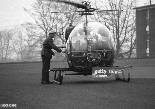 The Duke of Kent a Major in the Royal Scots Greys now serving with his armoured car squadron in Northern Ireland boarding an Army Scout helicopter at...