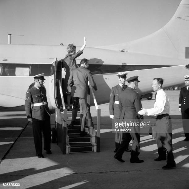 The Duke of Kent and his wife Katherine Duchess of Kent board a Heron aircraft of the Queen's Flight which was to fly them from RAF Linton to Dyce...