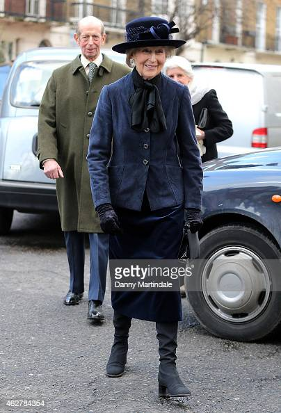 The Duke of Kent and Princess Alexandra attends a memorial for Sir Jocelyn Stevens at St Paul's Church on February 5 2015 in London England