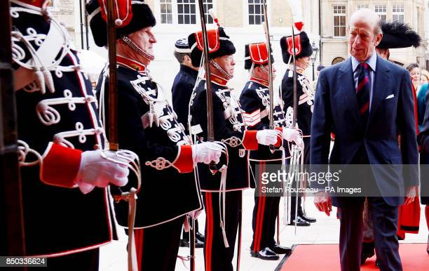 The Duke of Kent arrives at the Guildhall in London today where he was attending the Lord Mayor's Big Curry Lunch which raises money for the soldiers...