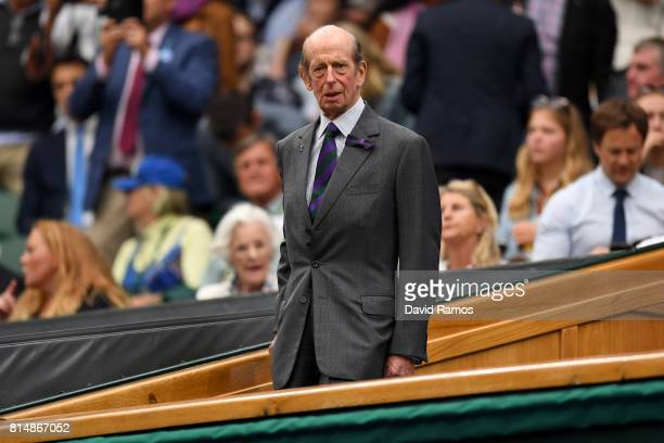 The Duke of Kent looks on from the centre court royal box prior to the Ladies Singles final between Venus Williams of The United States and Garbine...