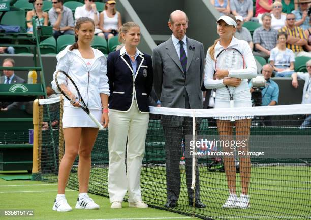 HRH The Duke of Kent with Great Britain's Laura Robson and Slovakia's Daniela Hantuchova on Court Two before their match during the 2009 Wimbledon...