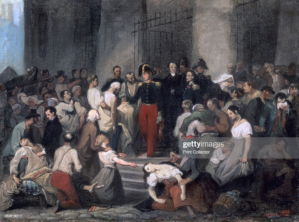'The Duke of Orleans Visiting the Sick at L'HotelDieu During the Cholera Epidemic in 1832' c1830