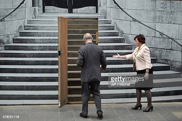 The Duke of Rothesay visits the Glasgow School of Art historic Mackintosh building which was damaged by a fire last year on June 24 205 in Glasgow...