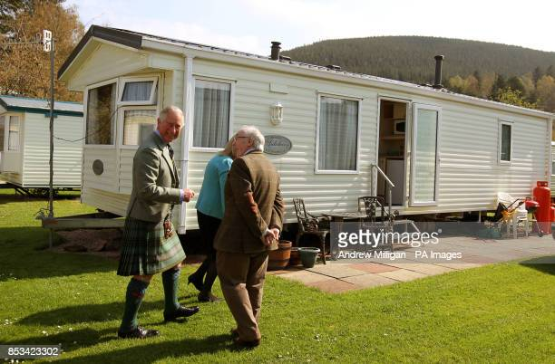 The Duke Of Rothesay With Phyllis Stewart As He Visits Her Caravan During A Visit To