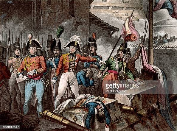 The Duke of Wellington at the taking of Ciudad Rodrigo Spain Peninsular War 1812 The French tricolour is pulled down and the Union Jack run up the...