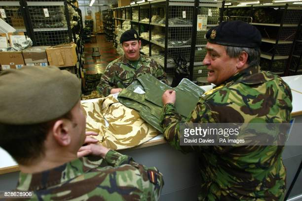 The Duke of Westminster inspects equipment in the Quartermasters Stores at the Reserves Training and Mobilisation Centre at Chetwynd Barracks...