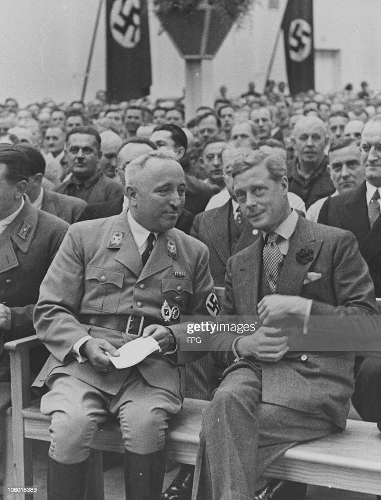 The Duke of Windsor (1894 - 1972) visits a stock factory in Berlin, 11th October 1937. On the left is Dr <a gi-track='captionPersonalityLinkClicked' href=/galleries/search?phrase=Robert+Ley&family=editorial&specificpeople=915684 ng-click='$event.stopPropagation()'>Robert Ley</a> (1890 - 1945), head of the German Labour Front.