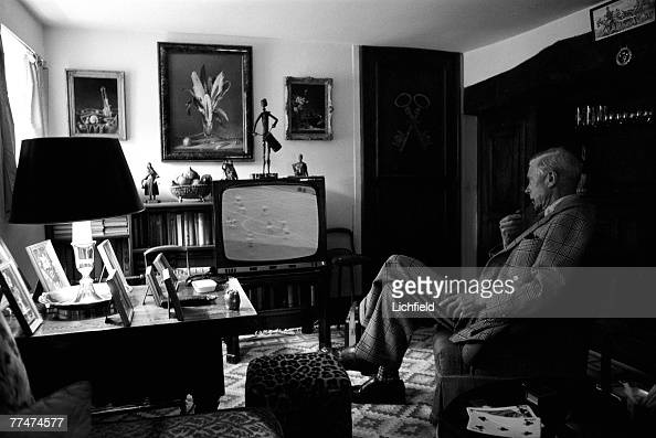 HRH The Duke of Windsor watching the World Cup in which England triumphed on the television at his home Le Moulin de Tuilleries GifsurYvette near...