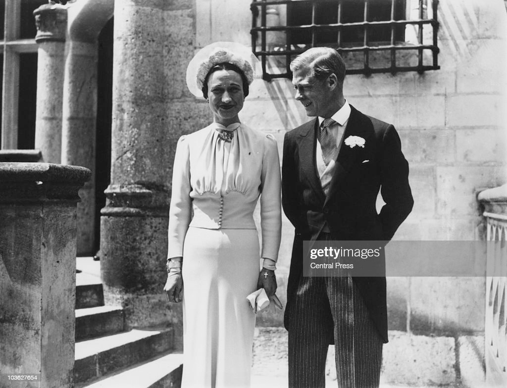 The Duke of Winsdor (1894 - 1972) marries Wallis Warfield Simpson (1896 - 1986) at the Chateau de Conde, France.