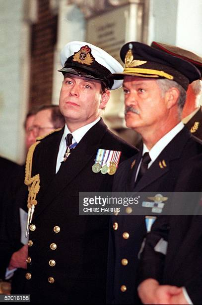 The Duke of York and Argentine fighter pilot Vice Commodoro Gustavo Aguire Faguet at St Paul's Cathedral in London 28 October where Argentine...