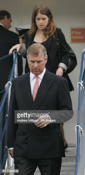 The Duke of York and daughter Princess Eugenie leaves The Hebridean Princess boat at the end of their weeklong holiday around the Hebrides