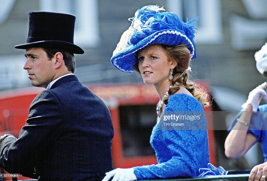 The Duke Of York (prince Andrew) And Duchess Of York (sarah Ferguson) In Klonlike Costumes During A Visit To Fort Edmonton, Canada.