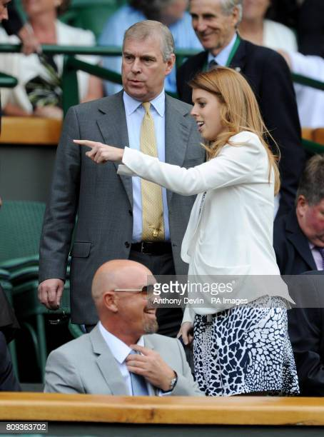 The Duke of York arrives with Princess Beatrice in the Royal Box on Centre Court during day eleven of the 2011 Wimbledon Championships at the All...