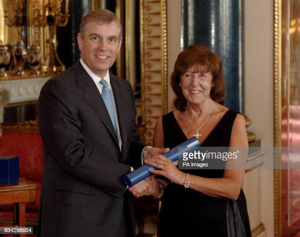 The Duke of York presents Joan Richards from Port Talbot South Wales with the Lifetime Achievement Award for Enterprise Promotion 2007 at Buckingham...