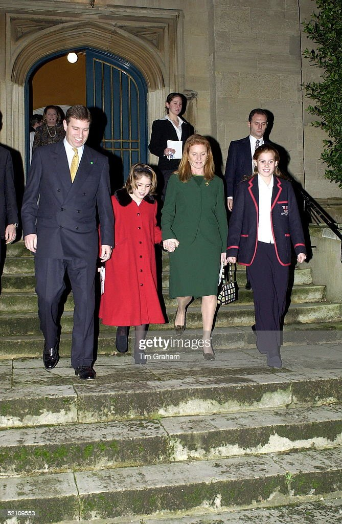 The Duke Of York [prince Andrew ] And The Duchess Of York [sarah] With Their Daughters Princess Eugenie And Princess Beatrice After A School Carol Concert At Windsor Parish Church.