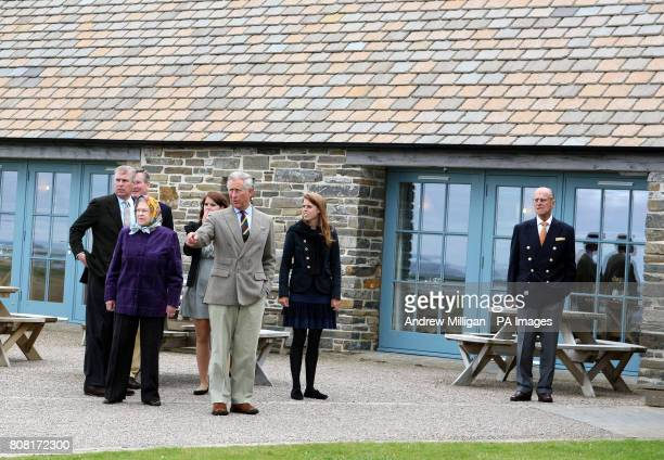 The Duke of York Queen Elizabeth II Princess Eugenie The Prince of Wales Princess Beatrice and the Duke of Edinburgh during a visit to the visitors...