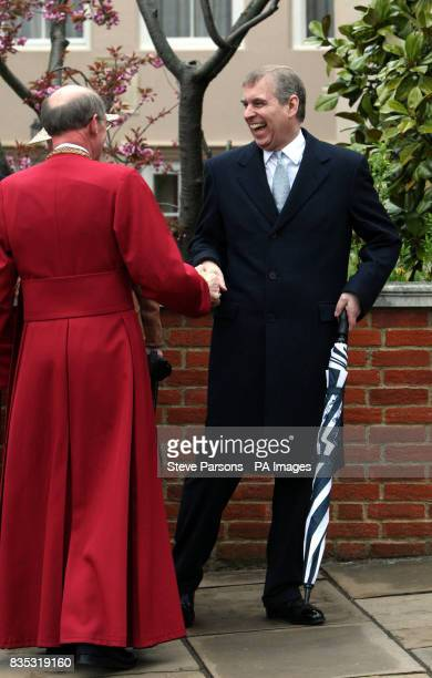 The Duke of York shares a joke with the Dean after the Easter Mattins service at St George's Chapel in the grounds of Windsor Castle Berkshire