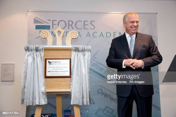 The Duke of York unveils plaque at the opening of the Forces Media Academy in Buckinghamshire