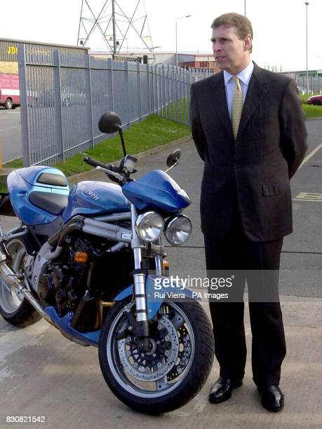 The Duke of York visits the Triumph Motorcycle factory in Hinckley Leicestershire and is shown one of the bikes produced there a Triumph Speed Four