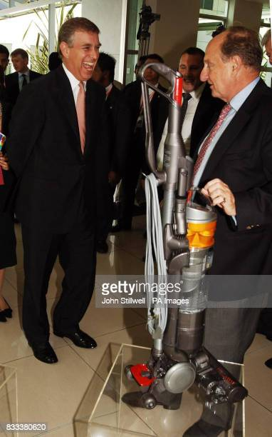 The Duke of York who is the UK special representative for Trade and Investment laughs as he is given a Dyson vacuum cleaner by Sir Richard Needham at...