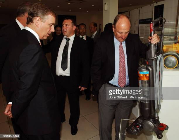 The Duke of York who is the UK special representative for Trade and Investment studies a Dyson vacuum cleaner at the Dyson factory in the Johor Baru...
