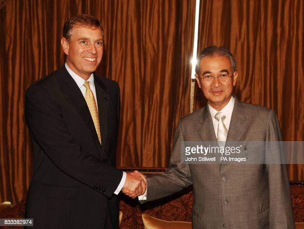 The Duke of York who is the UK special representative for Trade and Investment shakes hands with YAB Dato'Seri Abdullah Badawi the Prime Minister of...