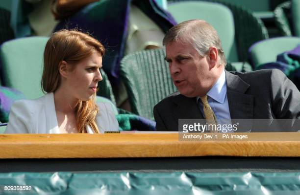 The Duke of York with Princess Beatrice in the Royal Box on Centre Court during day eleven of the 2011 Wimbledon Championships at the All England...