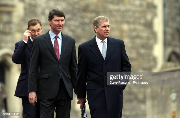 The Duke of York with Tim Laurence after the Easter Mattins service at St George's Chapel in the grounds of Windsor Castle Berkshire