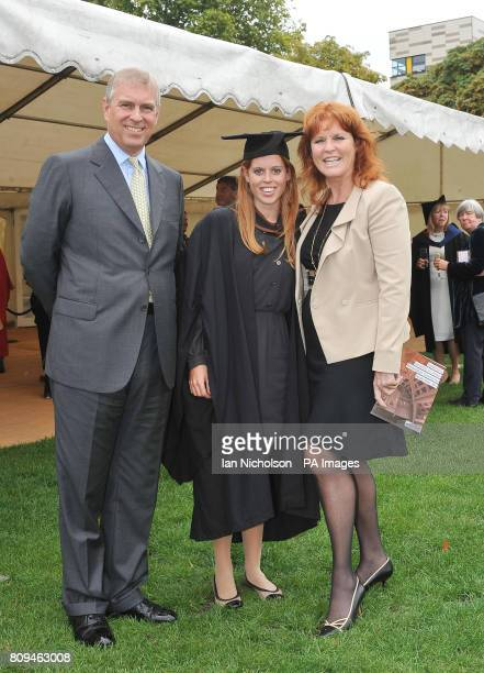 The Duke York and Sarah Duchess of York meet their daughter Princess Beatrice following her graduation ceremony at Goldsmiths College London