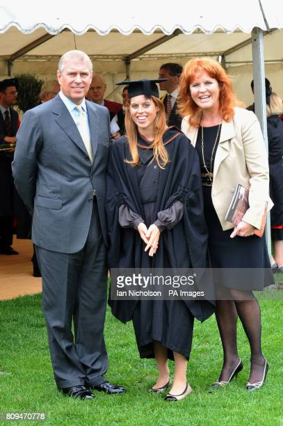 The Duke York and Sarah Duchess of York meet their daughter Princess Beatrice following her graduation ceremony at Goldsmiths College London Picture...