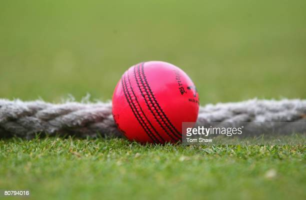 The Dukes pink ball during the MCC XI v Scotland at Lords Cricket Ground on April 21 2008 in London England The pink cricket ball is being trialled...