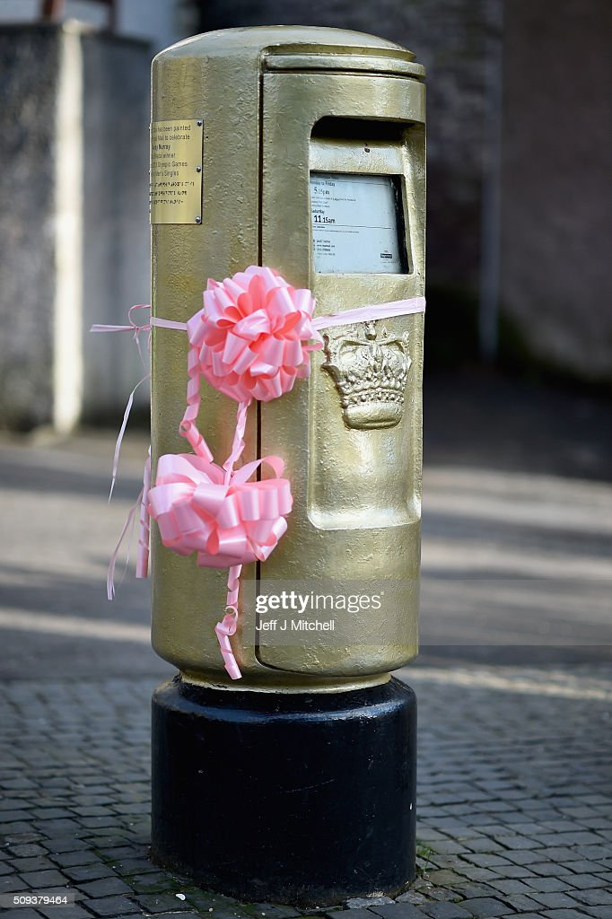 The Dunblane post box painted gold when Andy beat Roger Federer in the Olympic final in 2012 has been decorated pink Dunblane to celebrate him becoming a dad yesterday for the first time on February 10, 2016 in Dunblane,Scotland. The tennis star's wife, Kim Sears, gave birth to a girl on Sunday morning.