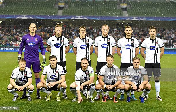 The Dundalk FC starting XI during the Champions League qualifying round game between Dundalk and Legia Warsaw at Aviva Stadium on August 17 2016 in...