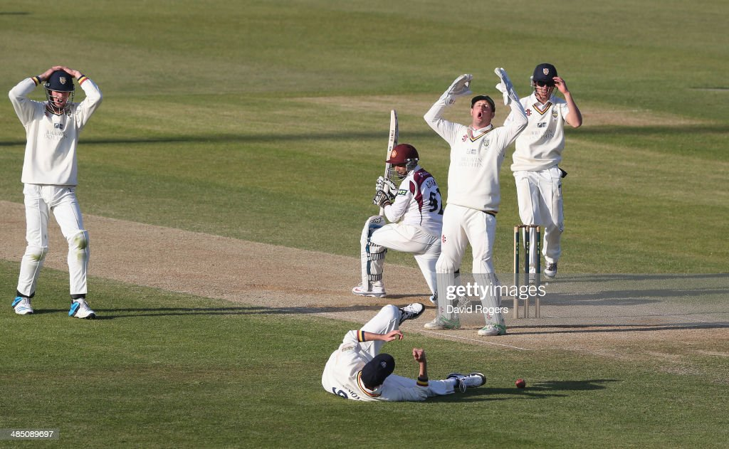 The Durham players look anguished as Graham Onions drops a difficult chance off Mohammad Azharullah which would have resulted in a win for Durham...