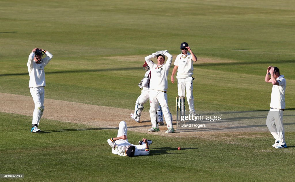 The Durham players look on in anguish as Graham Onions drops a difficult chance off Mohammad Azharullah which would have resulted in a win for Durham...