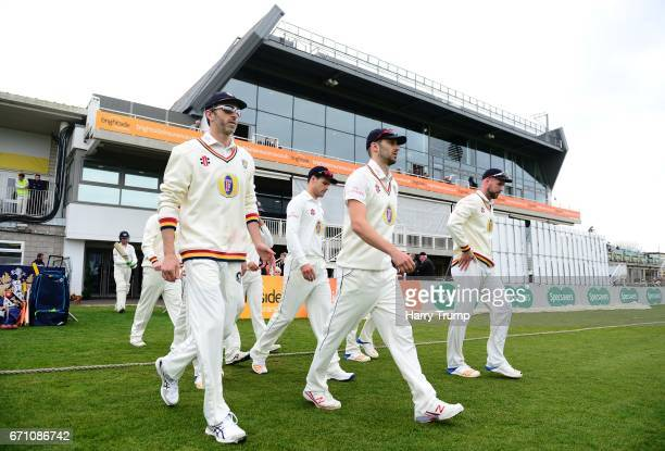 The Durham side walk out to field during Day One of the Specsavers County Championship Division Two match between Gloucestershire and Durham at The...
